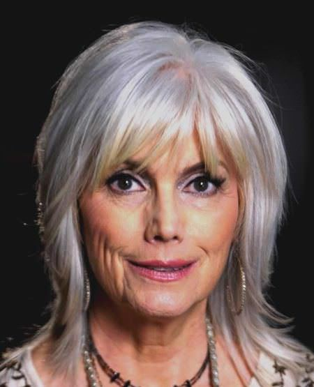 Smoky side bangs hairstyles for older women