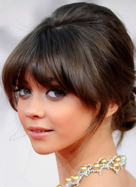 Updo with fringes medium length haircuts