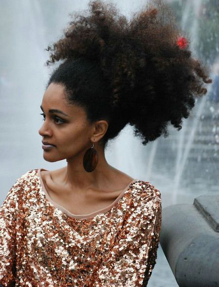 afro kinky curly black ponytail hairstyles