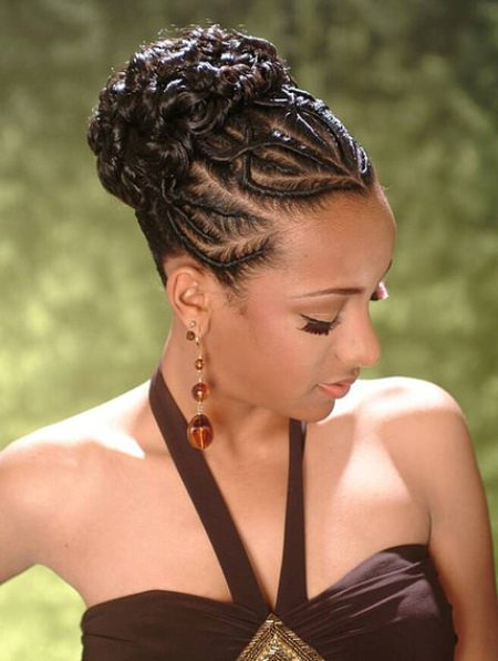 black braided updo with great design french braids for black women
