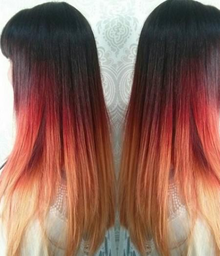 black red blonde stylish ombre straight hair