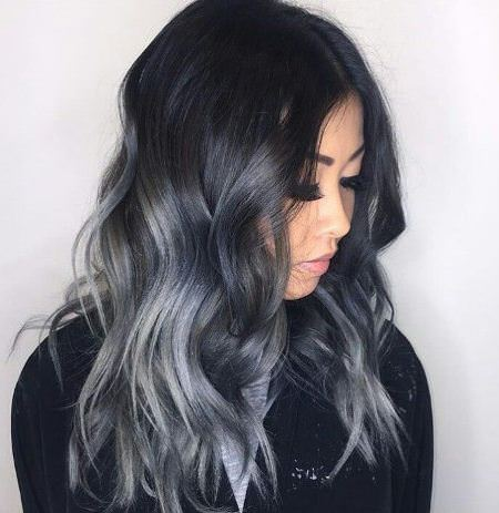 black to grey ash blonde and silver ombre