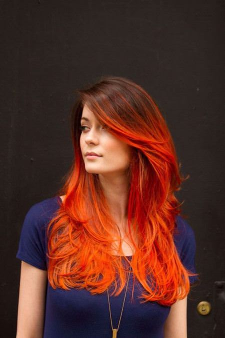 blood red orange hair red ombre hair