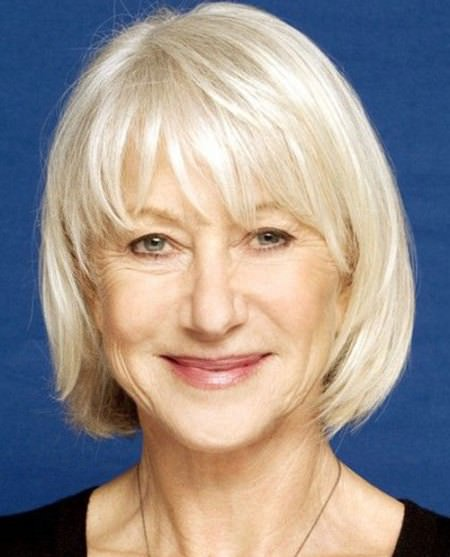 bob with blunt bangs hairstyles for older women