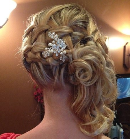 braided side curly updo medium curly hairstyles for every ocassion