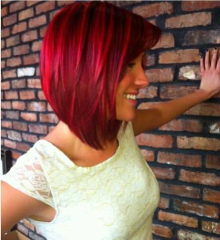 bright red inverted bob haircut