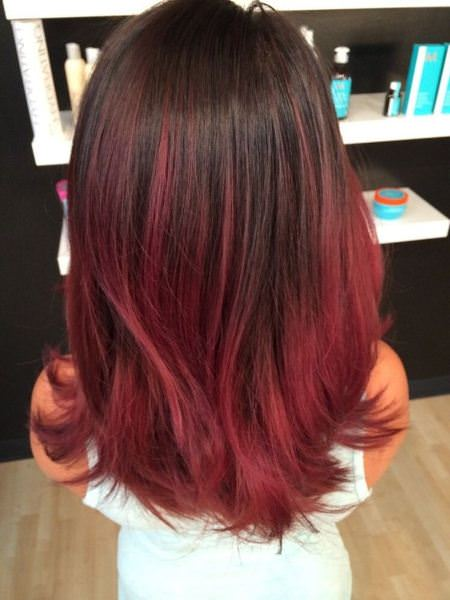 brown to red balayage red ombre hair