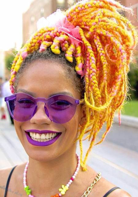 candy colored updo box braids updos hairstyles