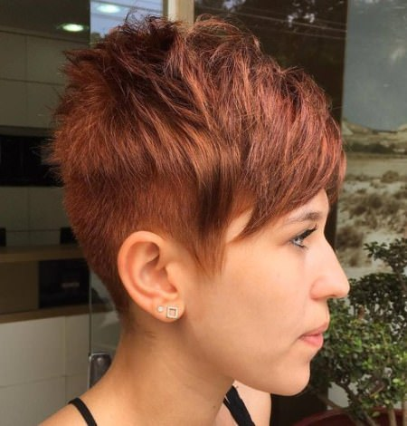 chopped layered bangs with buzzed back choppy pixie cuts