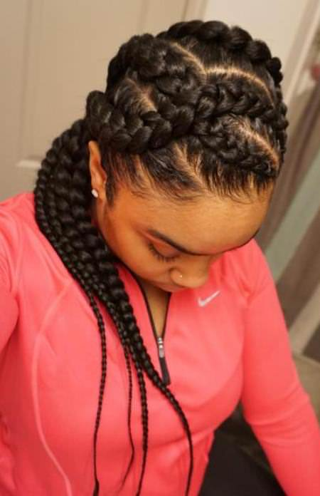 criss crossed french braids for black women