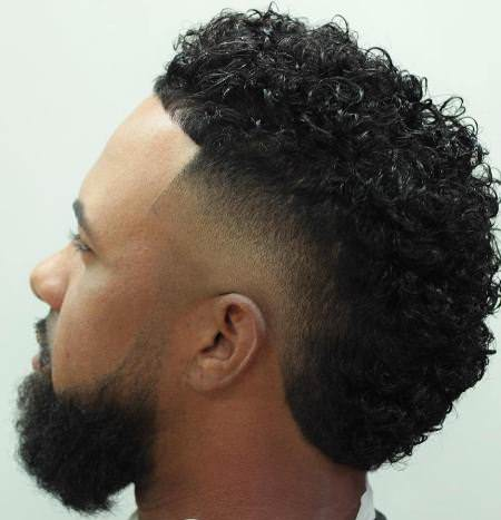 curly faded faux hawk haircuts for men