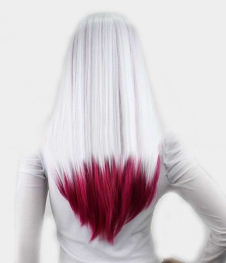 dip dyed hair color red ombre hair