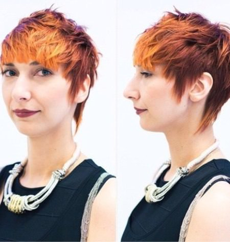 fired hued haircuts for short spiky haircuts for women