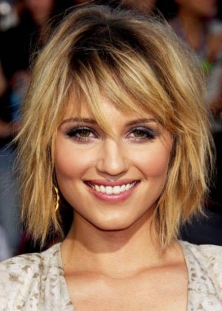 fringed and feathered inverted bob haircut