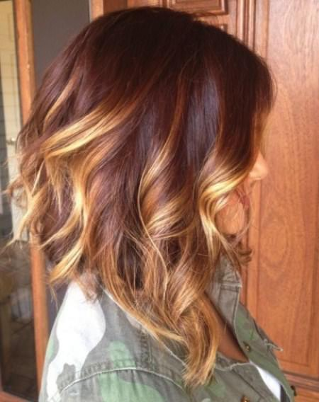golden red ombre hair