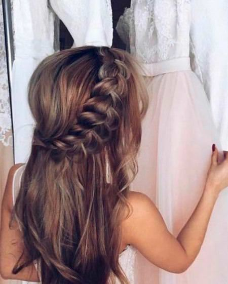 gorgeous long hair with half braid christmas and new year eve hairstyles