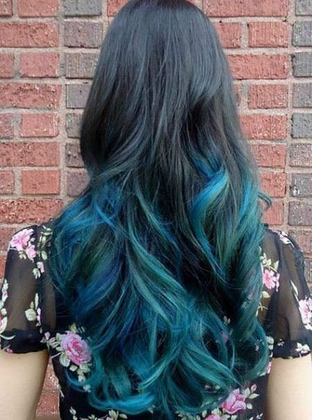 into the blue stylish ombre straight hair