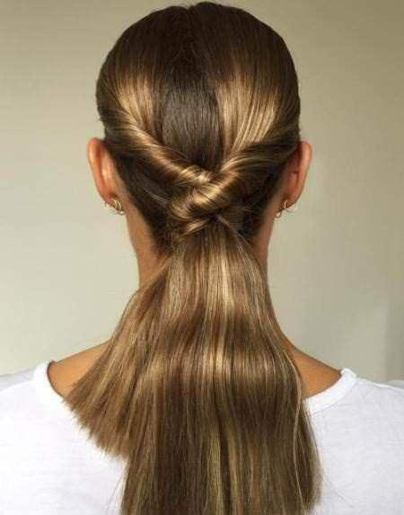 knotted ponytail twist hairstyles for straight hair