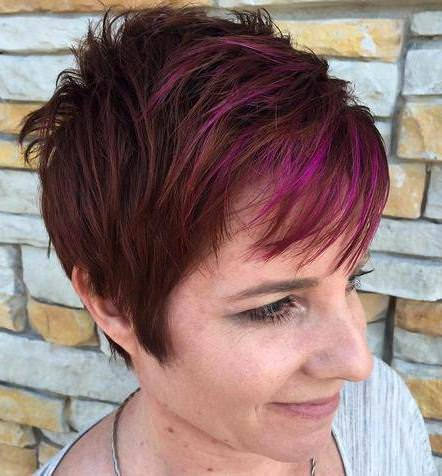 layered brown purple pixie colorful pixie cuts