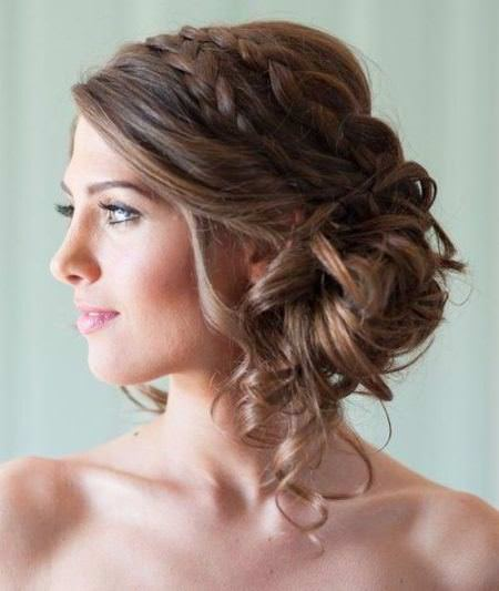 low side bun with a double braid