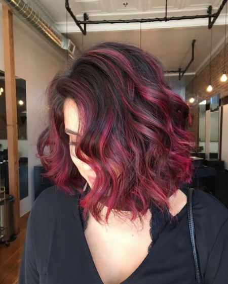 majestic majenta short ombre hair ideas for cropped locks