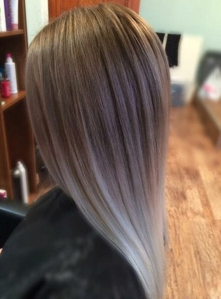 medium choppy cut with ash ombre ash blonde and silver ombre
