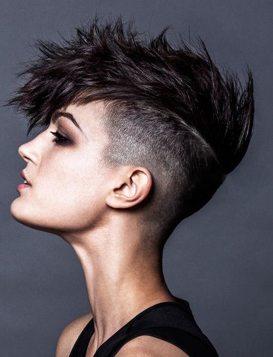mohawk with side designs haircuts for short spiky haircuts for women