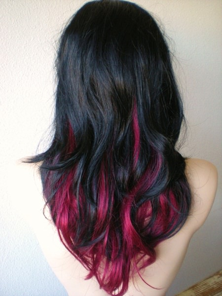 ombre hair with ruby and black red ombre hair