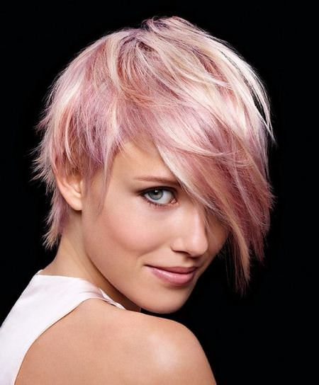 pastel pink short hairstyles for fine hair