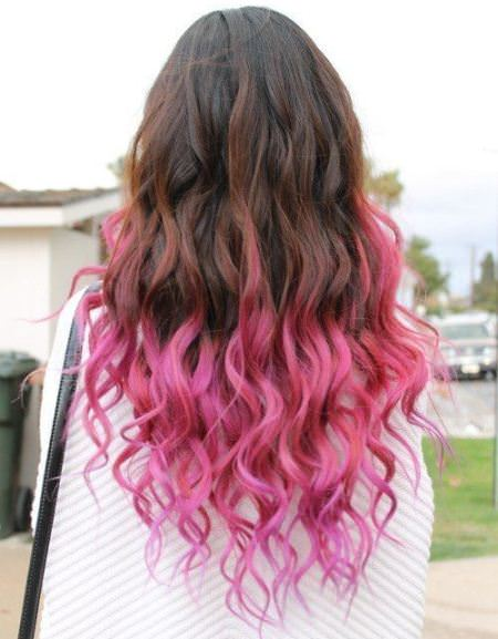 pretty in pink ombre straight hair