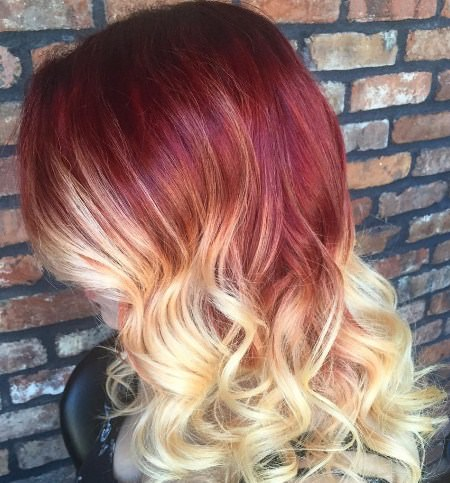 red and blonde red ombre hair