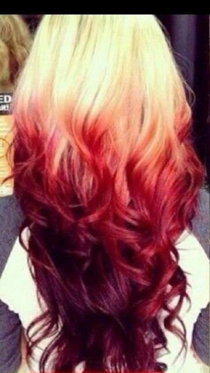 reverse red ombre hair