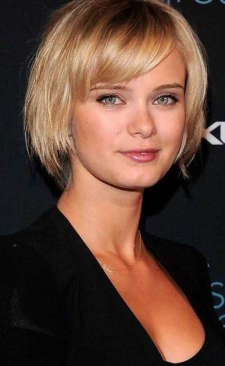 rounded bob with side bangs short hairstyles for thick hair