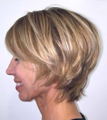 short layered with highlights hairstyles for older women