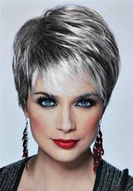 silver layered short hairstyles for women