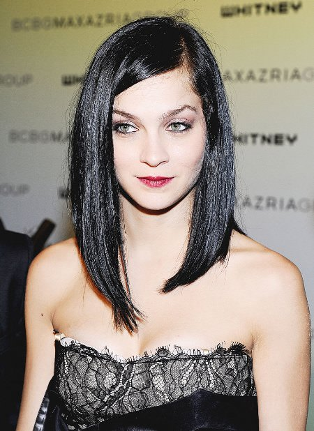 sleek asymmetrical inverted bob haircut