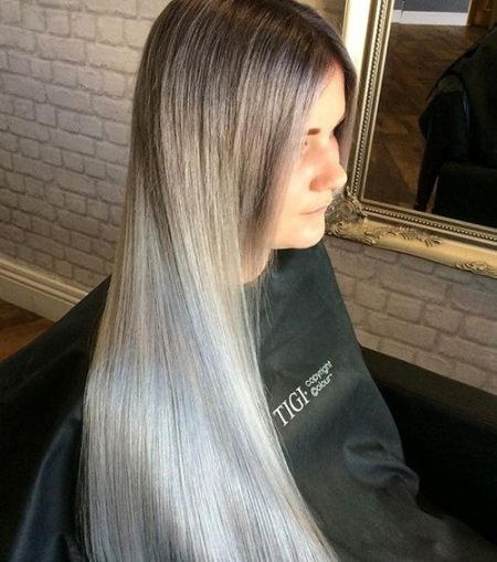 smooth brown to silver ombre ash blonde and silver ombre