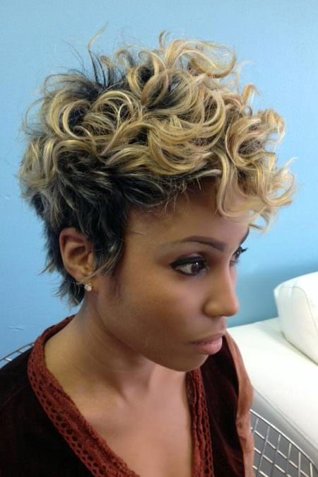 super curly pixie with highlights natural curly hairstyles