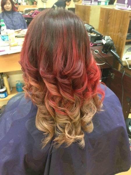 three tone red ombre hair