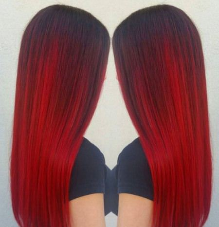 vibrant red ombre hair