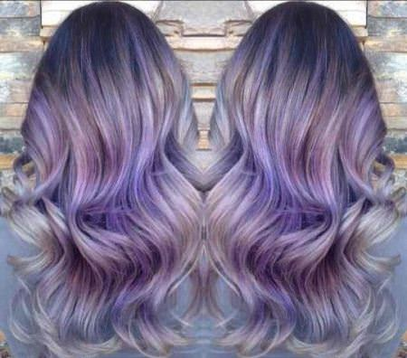 violet and silver balayage ash blonde and silver ombre