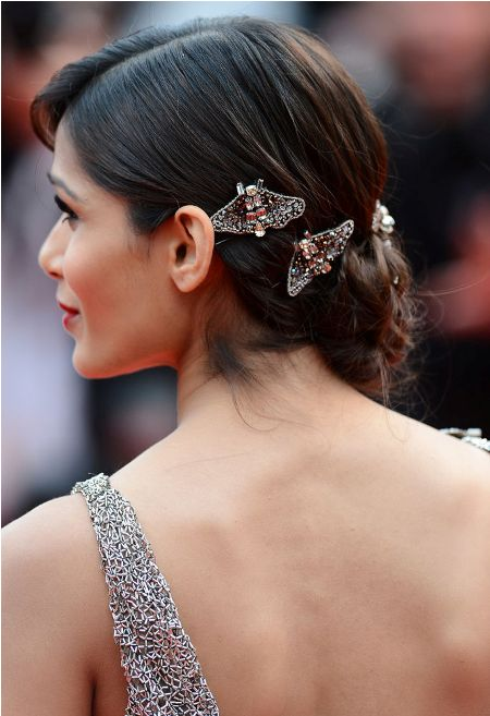 Bejeweled bun formal and classy bun hairstyle