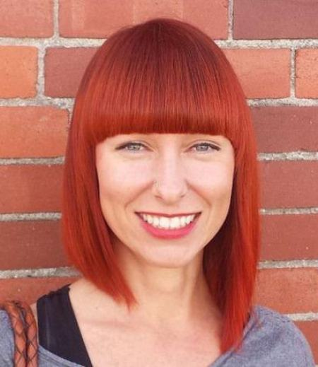 Fire Engine Red Tapered Bob with Bangs short fringe Hairstyles