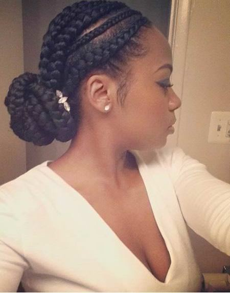 Ghana braid bun natural braided hairstyles