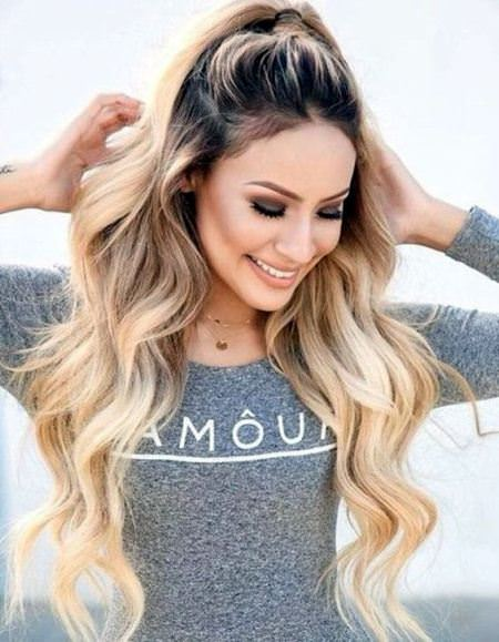 Half Up pony hairstyles for long thick hair