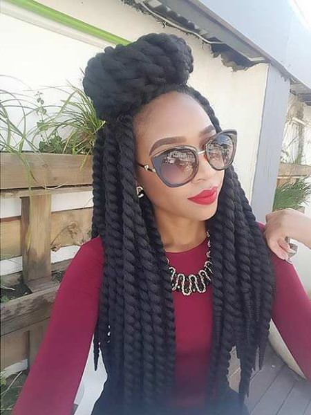Half up twist with bun hairstyles for natural hair