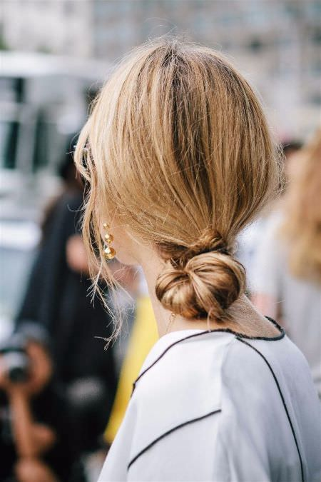 Low Knot Quick hair ideas for thick hair