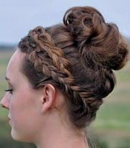 Messy braid with crown updos for curly hair