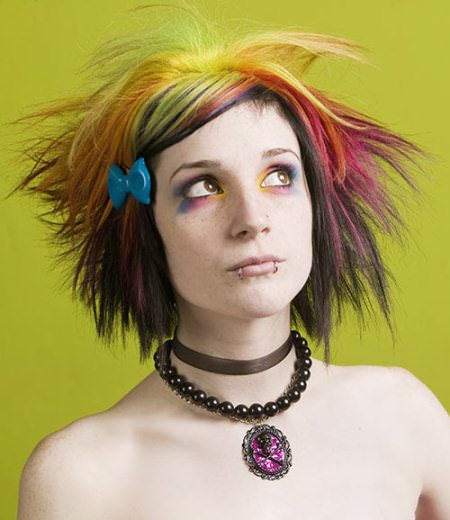 Multicolored-spiky-emo-hairstyles for girls