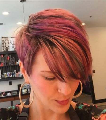 Red Textured Pixie cut with Swoop Bangs short fringe Hairstyles